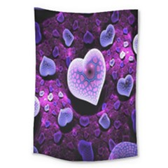 Hearts On Snake Pattern Purple Pink Love Large Tapestry