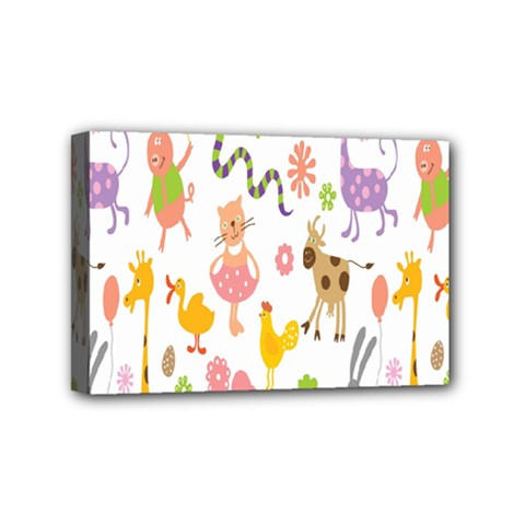 Kids Animal Giraffe Elephant Cows Horse Pigs Chicken Snake Cat Rabbits Duck Flower Floral Rainbow Mini Canvas 6  X 4  by Jojostore