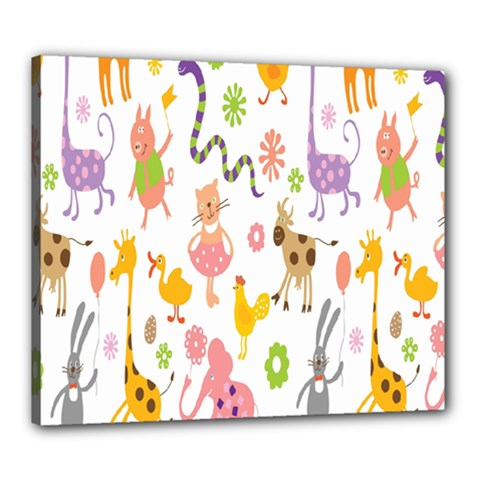 Kids Animal Giraffe Elephant Cows Horse Pigs Chicken Snake Cat Rabbits Duck Flower Floral Rainbow Canvas 24  X 20