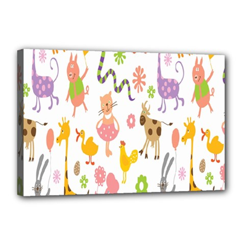 Kids Animal Giraffe Elephant Cows Horse Pigs Chicken Snake Cat Rabbits Duck Flower Floral Rainbow Canvas 18  X 12  by Jojostore