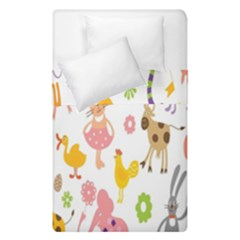 Kids Animal Giraffe Elephant Cows Horse Pigs Chicken Snake Cat Rabbits Duck Flower Floral Rainbow Duvet Cover Double Side (single Size)