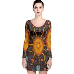 Great Sun Fabric Woven Batik Long Sleeve Velvet Bodycon Dress