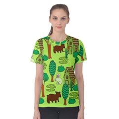 Kids House Rabbit Cow Tree Flower Green Women s Cotton Tee by Jojostore