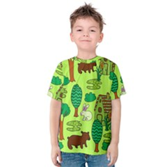 Kids House Rabbit Cow Tree Flower Green Kids  Cotton Tee by Jojostore