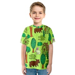 Kids House Rabbit Cow Tree Flower Green Kids  Sport Mesh Tee by Jojostore