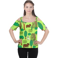 Kids House Rabbit Cow Tree Flower Green Women s Cutout Shoulder Tee by Jojostore