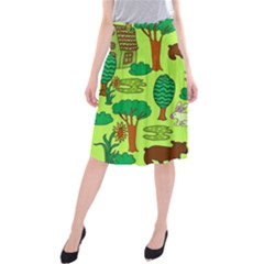 Kids House Rabbit Cow Tree Flower Green Midi Beach Skirt