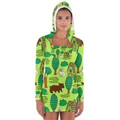 Kids House Rabbit Cow Tree Flower Green Women s Long Sleeve Hooded T Shirt by Jojostore
