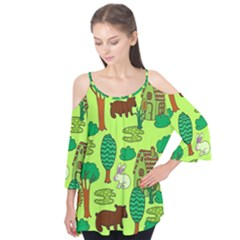 Kids House Rabbit Cow Tree Flower Green Flutter Tees by Jojostore