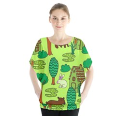 Kids House Rabbit Cow Tree Flower Green Blouse by Jojostore