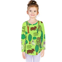 Kids House Rabbit Cow Tree Flower Green Kids  Long Sleeve Tee by Jojostore