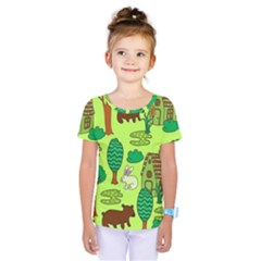 Kids House Rabbit Cow Tree Flower Green Kids  One Piece Tee by Jojostore