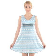 Love Heart Valentine Blue Star Woven Wave Fabric Chevron V Neck Sleeveless Skater Dress