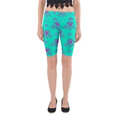 Jellyfish Pink Green Blue Tentacel Yoga Cropped Leggings