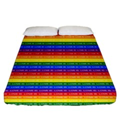 Love Valentine Rainbow Red Purple Blue Green Yellow Orange Fitted Sheet (queen Size) by Jojostore