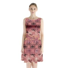 Overlays Pink Flower Floral Sleeveless Chiffon Waist Tie Dress