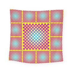 Rotational Plaid Purple Blue Yellow Square Tapestry (small) by Jojostore