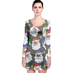 Santa Claus Face Mask Crismast Long Sleeve Bodycon Dress