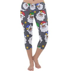 Santa Claus Face Mask Crismast Capri Yoga Leggings