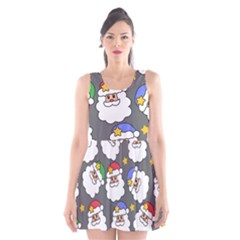 Santa Claus Face Mask Crismast Scoop Neck Skater Dress