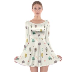 Slippers Lamp Glasses Ice Cream Grey Wave Water Long Sleeve Skater Dress