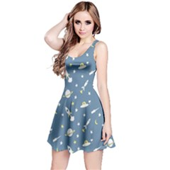 Space Saturn Star Moon Rocket Planet Meteor Reversible Sleeveless Dress
