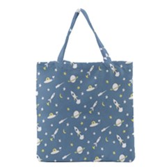Space Saturn Star Moon Rocket Planet Meteor Grocery Tote Bag by Jojostore