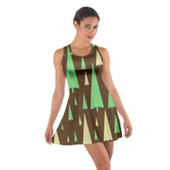 Spruce Tree Grey Green Brown Cotton Racerback Dress