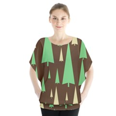 Spruce Tree Grey Green Brown Blouse