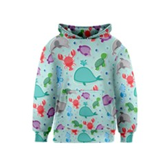 Turtle Crab Dolphin Whale Sea World Whale Water Blue Animals Kids  Pullover Hoodie