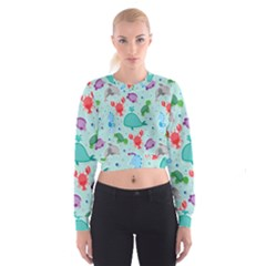 Turtle Crab Dolphin Whale Sea World Whale Water Blue Animals Women s Cropped Sweatshirt