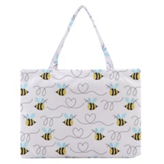 Wasp Bee Fly Yellow Black Blue Hanny Love Medium Zipper Tote Bag by Jojostore