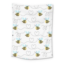 Wasp Bee Fly Yellow Black Blue Hanny Love Medium Tapestry