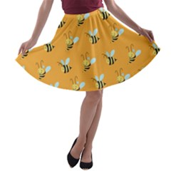 Wasp Bee Hanny Yellow Fly Animals A Line Skater Skirt by Jojostore