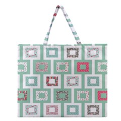 Foto Frame Cats Quilt Pattern View Collection Fish Animals Zipper Large Tote Bag
