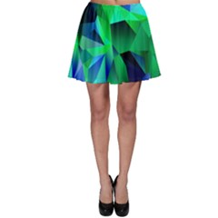 Galaxy Chevron Wave Woven Fabric Color Blu Green Triangle Skater Skirt