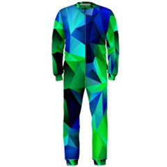 Galaxy Chevron Wave Woven Fabric Color Blu Green Triangle Onepiece Jumpsuit (men)