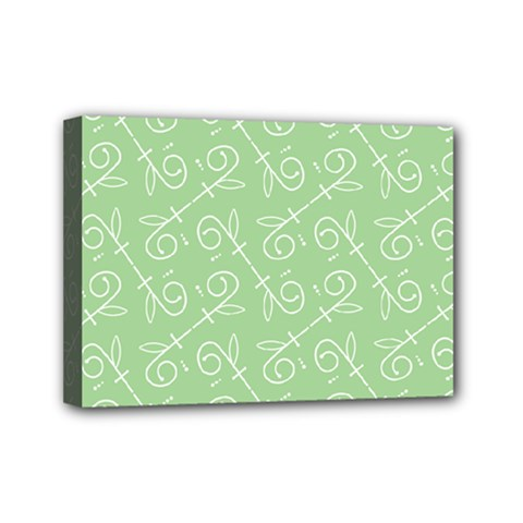 Formula Leaf Floral Green Mini Canvas 7  X 5