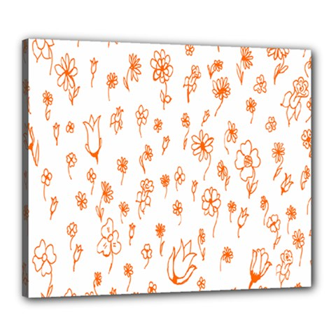 Flower Floral Tulip Orange Canvas 24  X 20  by Jojostore