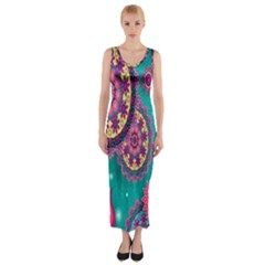 Vintage Butterfly Floral Flower Rose Star Purple Pink Green Yellow Animals Fly Fitted Maxi Dress