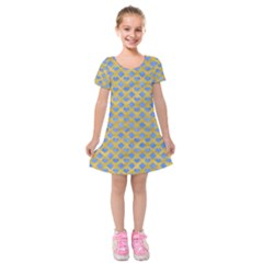 Diamond Heart Card Valentine Love Blue Yellow Gold Kids  Short Sleeve Velvet Dress