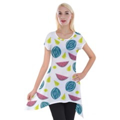 Summer Fruit Watermelon Water Guava Onions Short Sleeve Side Drop Tunic