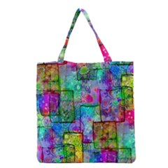 Rainbow Floral Doodle Grocery Tote Bag by KirstenStar