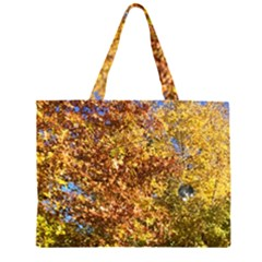 Autumn Leaves With Kitty Zipper Large Tote Bag