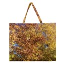Autumn Leaves with Kitty Zipper Large Tote Bag View1