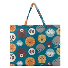 Animal Pattern Zipper Large Tote Bag by Nexatart