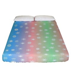 Christmas Happy Holidays Snowflakes Fitted Sheet (queen Size) by Nexatart