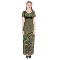 Fractal Complexity 3d Dimensional Short Sleeve Maxi Dress