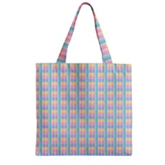 Grid Squares Texture Pattern Zipper Grocery Tote Bag by Nexatart