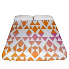 Geometric Abstract Orange Purple Pattern Fitted Sheet (queen Size) by Nexatart